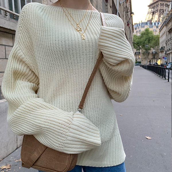 European Boat Neck Knit