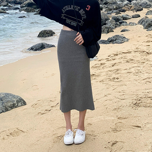 The Sea Color Knit Skirt