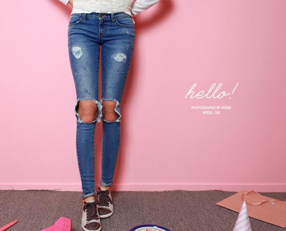 enjoy best price timeless design popular design Knee Cutout Distressed Skinny Jeans