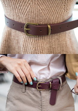 Plum Leather Belt