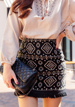 Fringed Ethnic Diamond Skirt