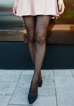 Sheer Ribbon Patterned Stockings