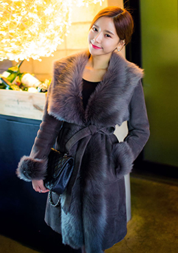Fur Trimmed Wrap Coat