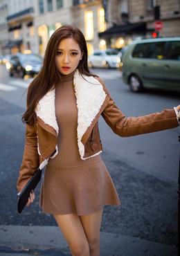 Fur-Lined Faux Leather Jacket