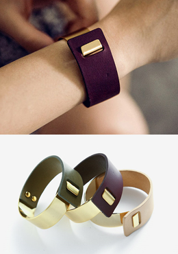 Leather Metal Cuff Bracelet
