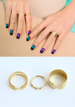 Gold Tone Open Band Ring Set