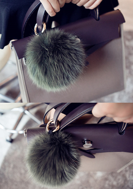 Fur Ball Key Ring - Khaki