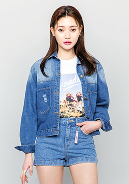 Unique washed denim jacket