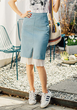 Lace frilled layered denim skirt