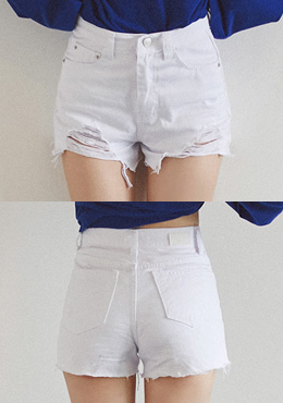 Distressed Mid Rise White Shorts