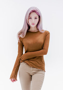 Wavy Hem Long Sleeves Top