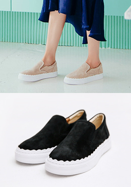 Suede Scallop Detail Slip Ons