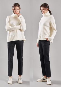 Fold Over Long Turtle Neck Knit