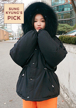 Real Fox Fur Short Padded Jacket
