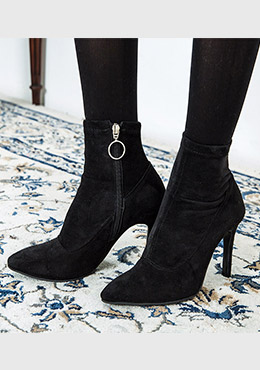 Ring Zipper Slim Style Ankle Boots
