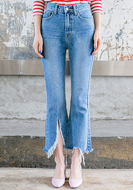 Front Tear Bootcut Jeans