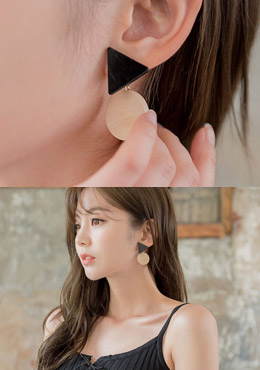 [CHU] Two-Shaped Wooden Earrings