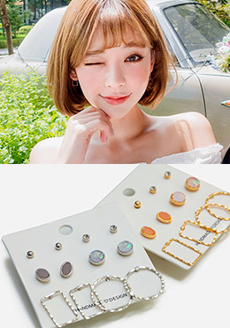[CHU] Everyday Layered Earrings Set