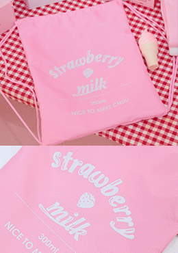 strawberry milk. Pompous Strawberry Bag