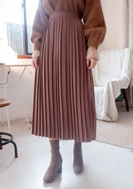 Accordion Pleats Midi Skirt