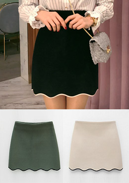 Contrast Trimmed Lovely Mini Skirt