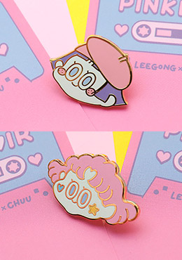 LEEGONG Pinknoir Coloring Graphic Broach