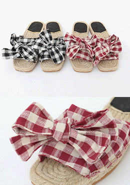 Check Palm Ribbon Shoes
