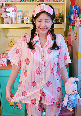 Pink Strawberry Striped Pajama Set