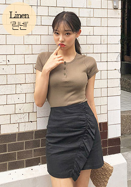 Linen Frill Demi-Mini Skirt