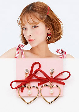 Ribbon Pointed Heart Earring