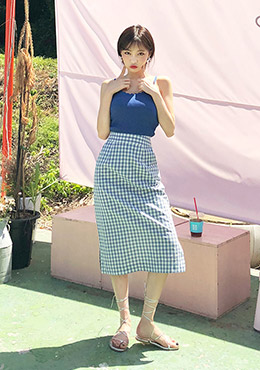 Lovely Checkered Midi Skirt