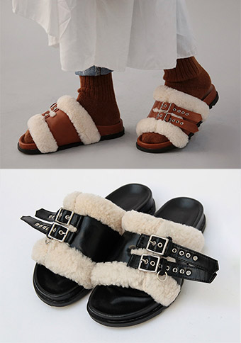 Teddy Leather Winter Slider