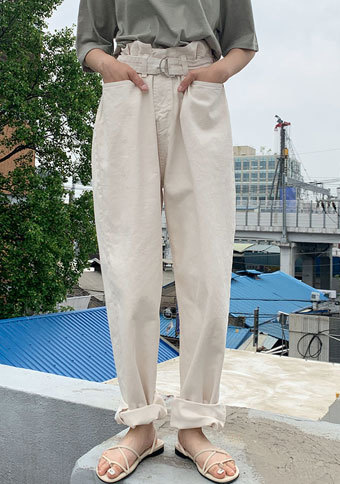 Pastel Belted Wide Pants