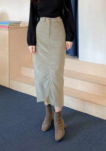 Semi Shirring Long Skirt