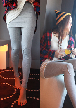 Patched Knee Skirt Leggings