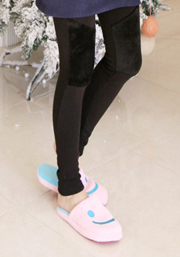 Paneled Fur Pull On Leggings