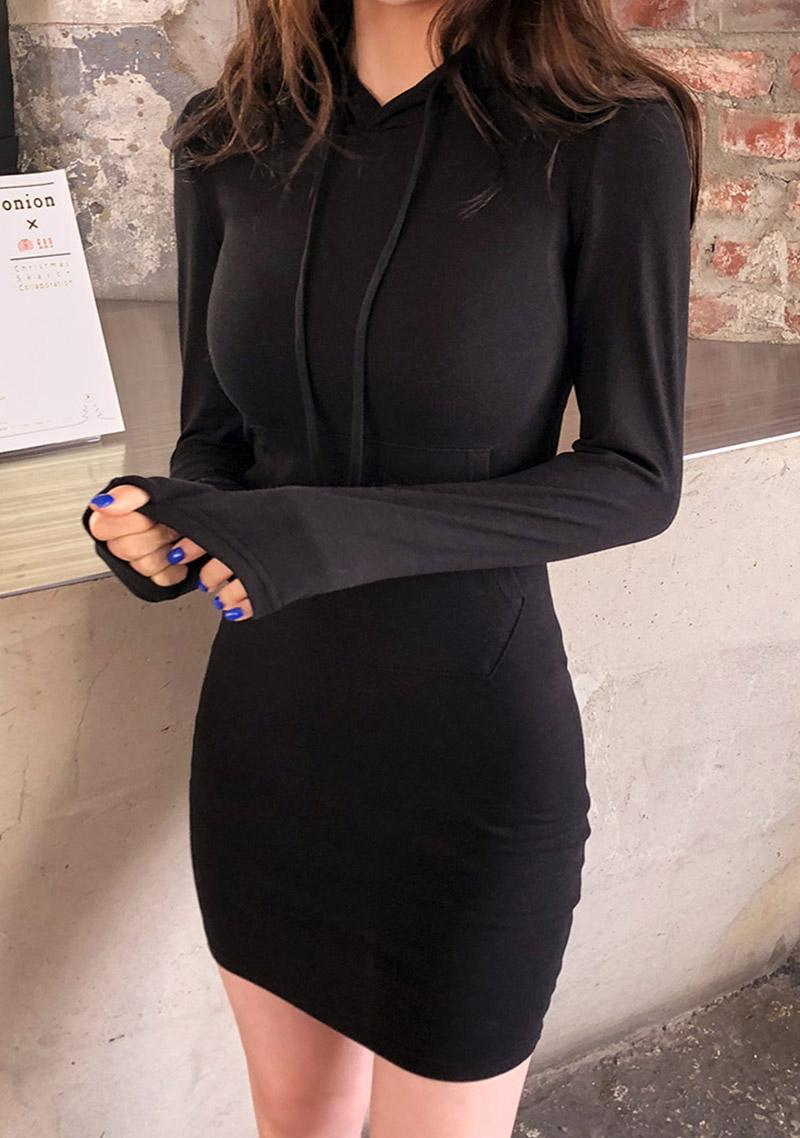 daily-slim-fit-hoodie-dress by chuu