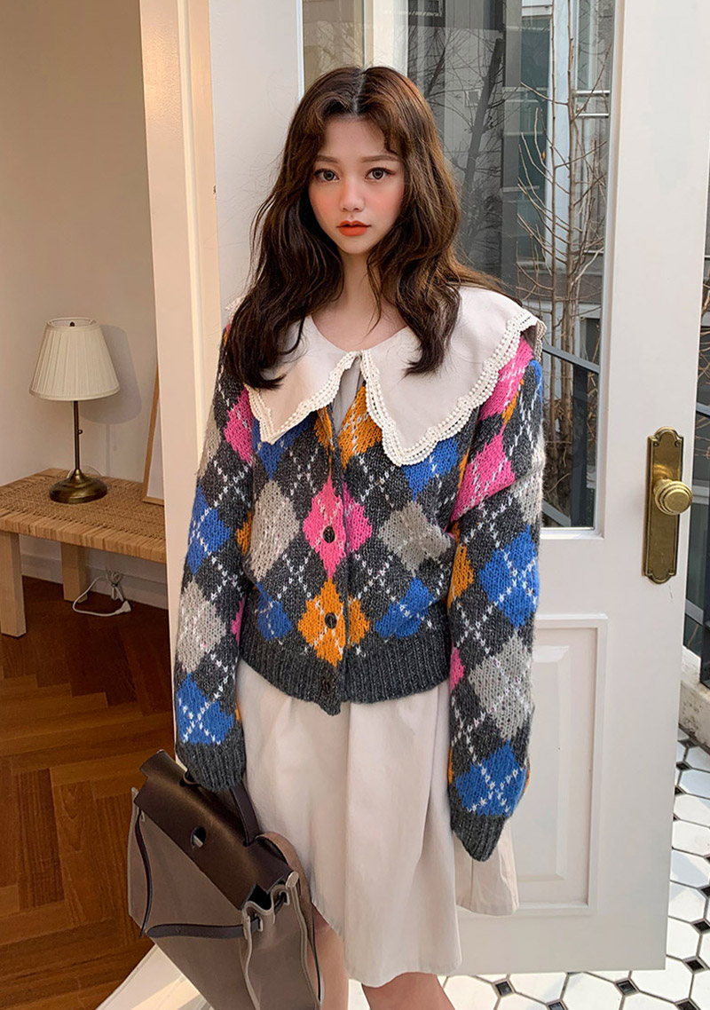 Petit Argyle Cardigan by Chuu