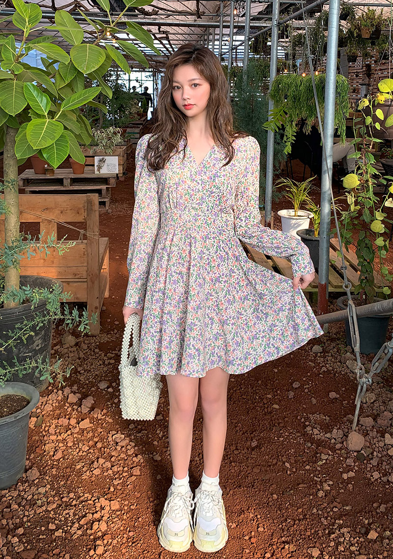 Romantic Flower Wrap Dress by Chuu