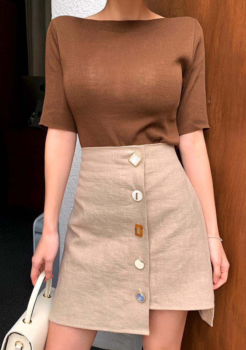 unbalanced-antique-buttons-linen-skirt by chuu