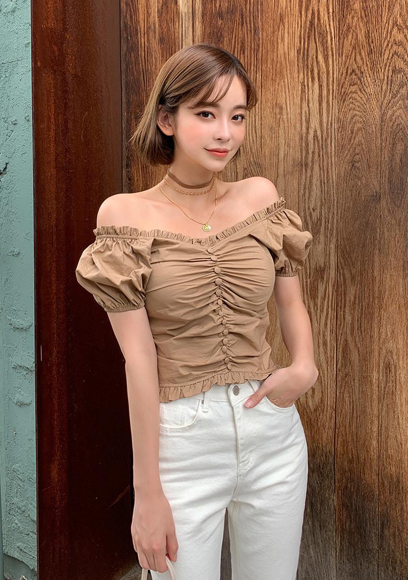 knock-knock-shirring-blouse by chuu