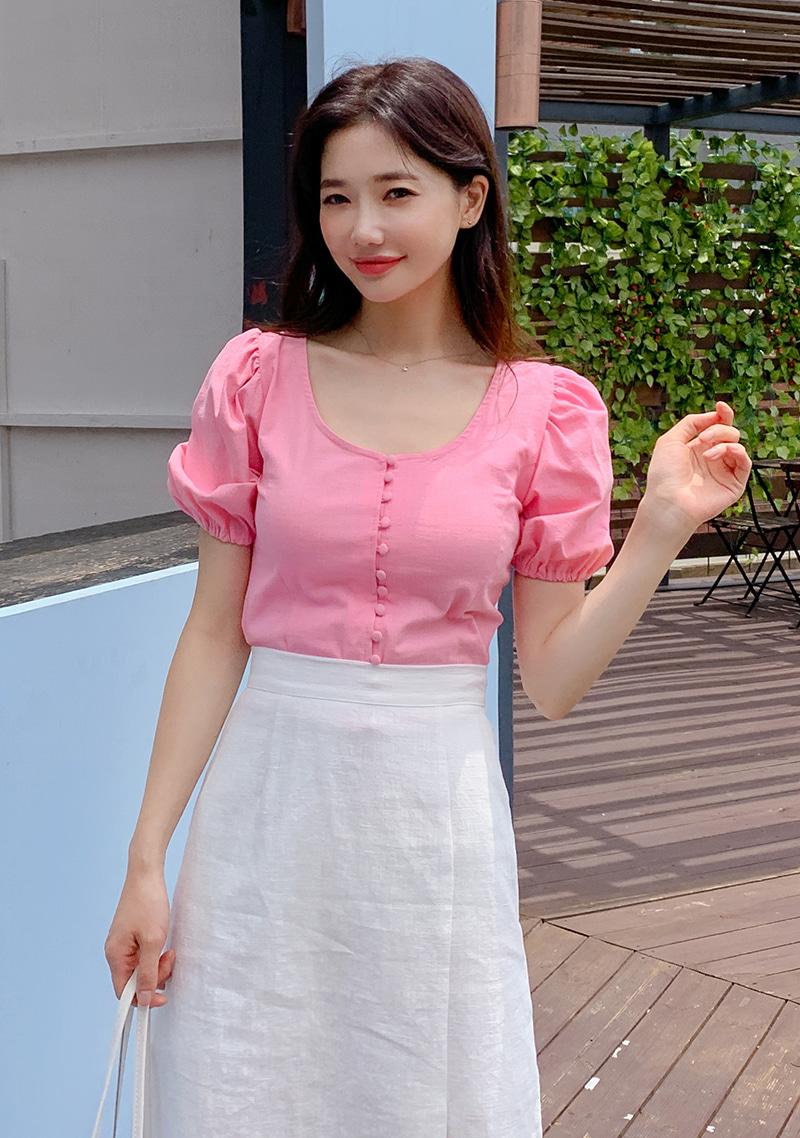 cute-bean-button-blouse by chuu