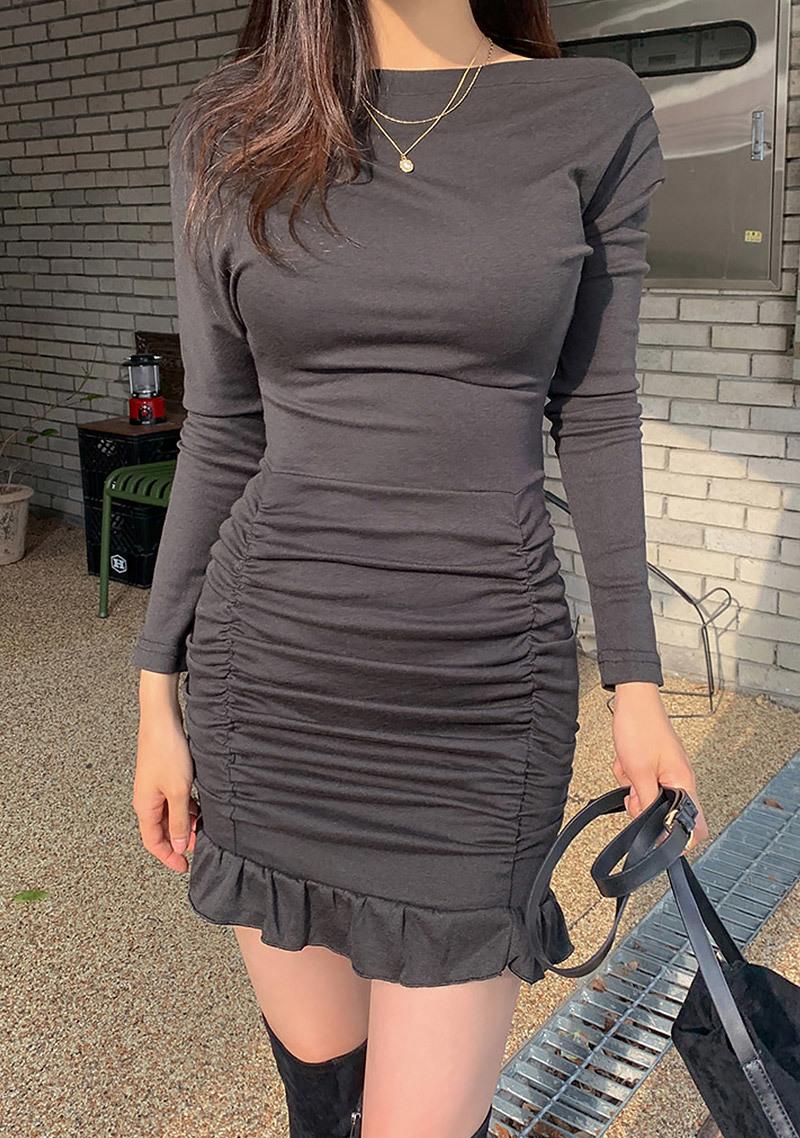 Tulip Shirring Mini Dress by Chuu